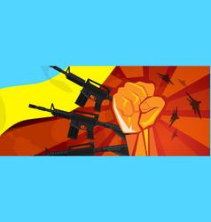 Ukraine war propaganda hand fist strike with arm vector