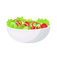 vegetable salad in white bowl isolated on white vector image