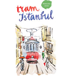 Watercolor old red tram in istanbul vector