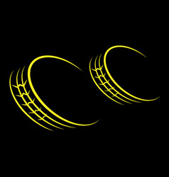wheel tire track yellow vector image