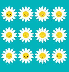 white daisy chamomile icon emoji set set funny vector image