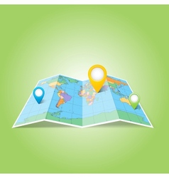 World map with Map Pins Pointer Icons vector image