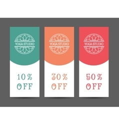 Yoga studio discount coupon template vector