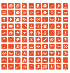 100 tension icons set grunge orange vector image