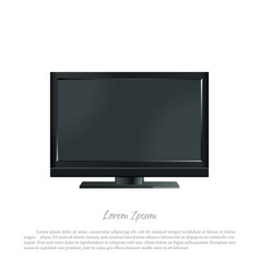 black pc monitor on a white background vector image vector image