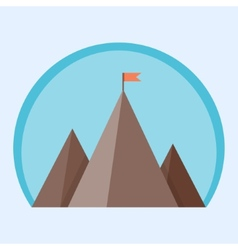 Flat mountain peak with flag vector image vector image