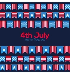 Fourth July USA Independence Day flags vector image