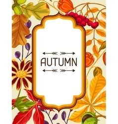 Frame with autumn leaves and plants Design for vector image vector image