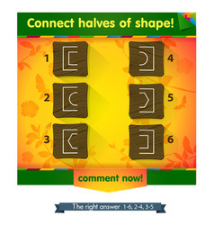 Game connect halves of shape vector