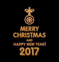 orange merry Christmas and happy new year 2017 vector image
