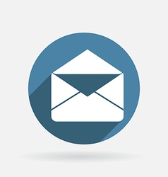 postal envelope Circle blue icon with shadow vector image