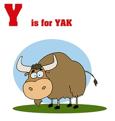 Yak with letter cartoon vector image