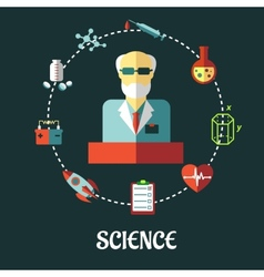 Different sciences flat concept vector image vector image