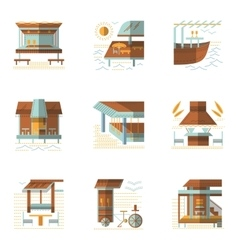 Flat colored icons for cafe and bungalows vector image vector image