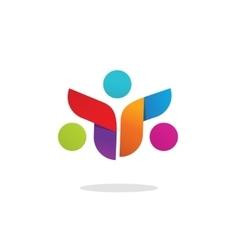 Three people community logo abstract symbol vector image