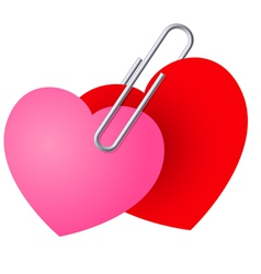two hearts pinned together vector image vector image