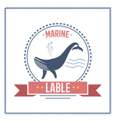 whale nautical and marine sailing themed label vector image vector image