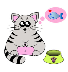 a cute smiling kitten behind a bowl with fish vector image vector image
