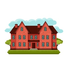 old brick cottage on clouds vector image vector image