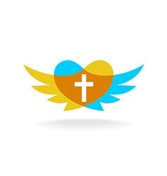 Religion logo with wings heart silhouette and vector image