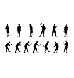 Set of Silhouettes of People Playing Ping Pong vector image vector image