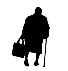 silhouette of a old woman with cane vector image vector image