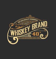 Vintage old design whiskey label style vector