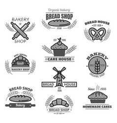 bakery icons of bread wheat ears and mill vector image vector image