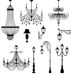 Chandelier and vintage lamp set vector image vector image