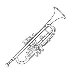 dark monochrome contour trumpet wind instrument vector image vector image