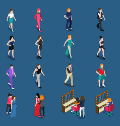 fashion models isometric set vector image