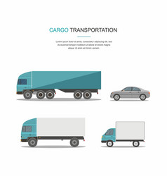set blue cargo delivery truck vector image vector image
