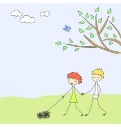 spring scene vector image vector image