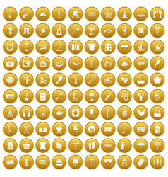 100 recreation icons set gold vector