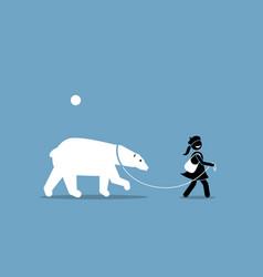 A girl leashing and walking with a polar bear vector