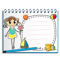 A notebook with a drawing of a young girl holding vector image