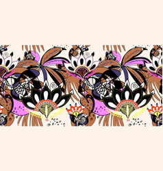 abstract seamless trendy pattern with black lotus vector image