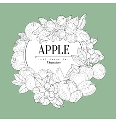 Apple Set Vintage Sketch vector