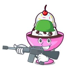 Army ice cream sundae character cartoon vector