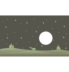 At night reindeer with snowflakes scenery vector image