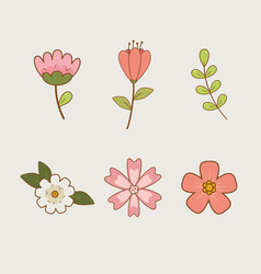 beautiful flowers and leafs set icons vector image
