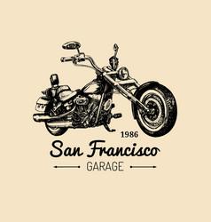 Biker club logo hand drawn motorcycle vector