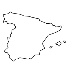 Black contour map of Spain vector