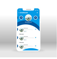 blue chat book ui ux gui screen for mobile apps vector image