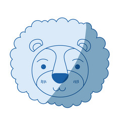Blue color shading silhouette cute face of lion vector