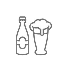 bottle and beer glass line icon vector image