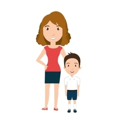 Boy student character with teacher isolated icon vector