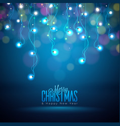 bright christmas lights on a dark vector image