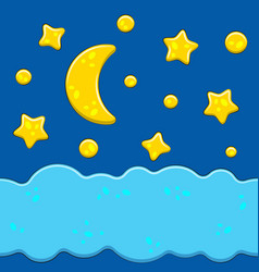 bright images with night sky moon stars vector image