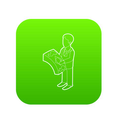 businessman holding pack of dollars icon green vector image